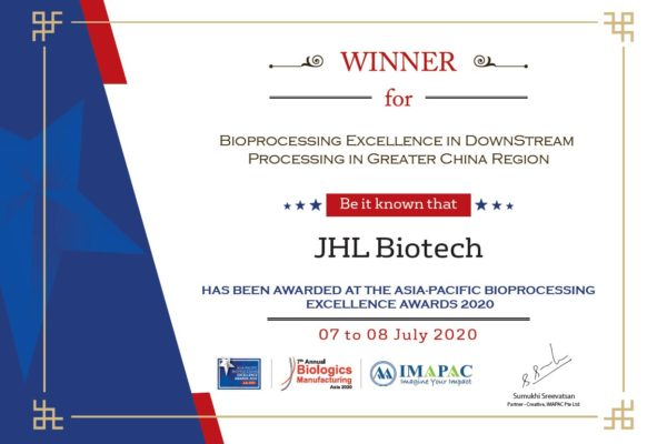 "JHL Awarded ""Bioprocessing Excellence in Downstream Processing"" by IMAPAC"